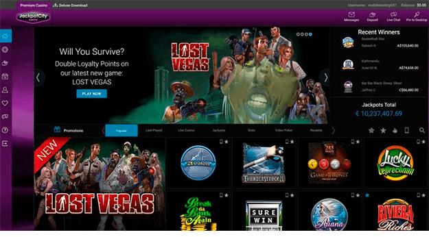 Jackpotcity - Games Lobby